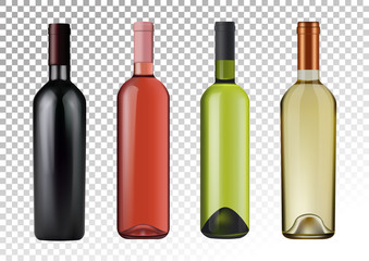 Vector illustration. Set of wine bottles in photorealistic style. Pink, white, red wines. A realistic objects on a transparent background. 3D Realism.