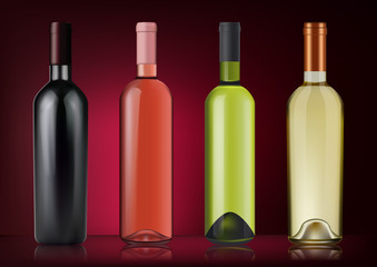 Vector illustration. Set of wine bottles in photorealistic style. Pink, white, red wines. A realistic objects on on dark red background. 3D Realism.