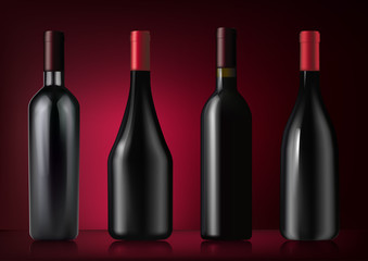 Vector illustration. Set of red wine bottles in photorealistic style. A realistic objects on dark red background. 3D Realism.