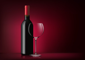 Vector image of a bottle with red wine and a glass goblet in photorealistic style on a red dark background. 3d realism illustration