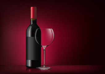 Vector image of a bottle of red wine with label and a glass goblet in photorealistic style on a red dark background. 3d realism illustration