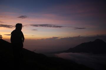 shilouette view of sunrise in merbabu
