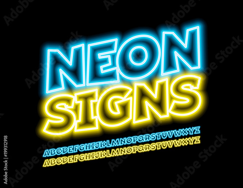 Vector Neon Signs Cool Contour Font Glowing Bright Alphabet