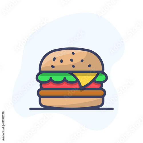Burger Vector Icon Fast Food Vector Line Icon Hamburger Outline