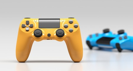 3D Rendering Of Realistic Gaming Joysticks On White Background