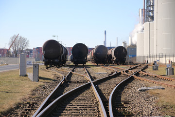 rail tank wagons ready to be loaded in the harbor of Rotterda,, The Netherlands