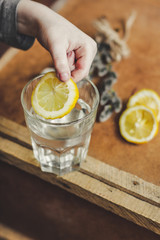 glass of water with lemon (a slice of lemon in pure water)