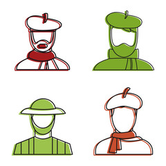 Painter man icon set, color outline style
