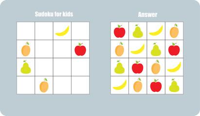 Sudoku game with fruit (apple, banana, pear, apricot) for children, easy level, education game for kids, preschool worksheet activity, task for the development of logical thinking, vector illustration