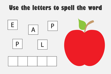 Use the letters to spell the word, apple in cartoon style, educational spelling scramble game for the development of children, kids preschool activity, printable worksheet, vector illustration
