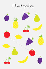 Find pairs of identical pictures, fun education game with fruit for children, preschool worksheet activity for kids, task for the development of logical thinking, vector illustration