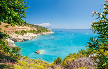 Beautiful sunny view on one of the Zakynthos beaches, Greece