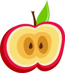 Apple Cut In Half Isolated Vector