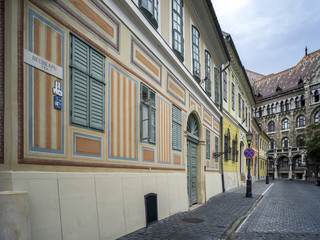 Buildings on the street in a city, Buda's Castle District, Budapest, Hungary