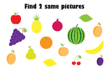 Find two identical pictures, fun education game with fruit in cartoon style for children, preschool worksheet activity for kids, task for the development of logical thinking, vector illustration
