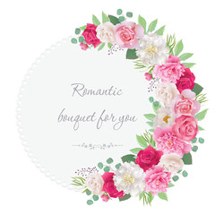 Romantic semicircle garland frame with red and pink roses, white and pink peonies. Can be used as invitation for wedding, birthday, thank you card, Valentine's Day and other holiday. EPS 10