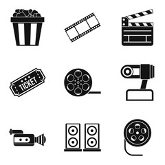 Video clip icons set, simple style
