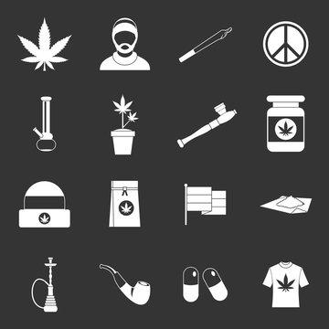 Rastafarian icons set grey vector