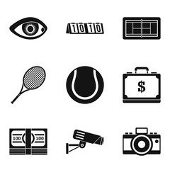 Video image icons set, simple style