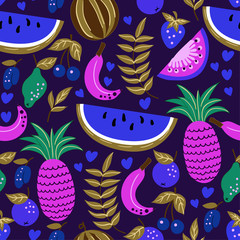 Seamless pattern of fruits, watermelon, melon, strawberry, cherry, plum, kiwi. For textile design or any other printing.