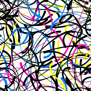 Abstract doodle blob lines. calligraphic curves vector seamless pattern, bright color splash design