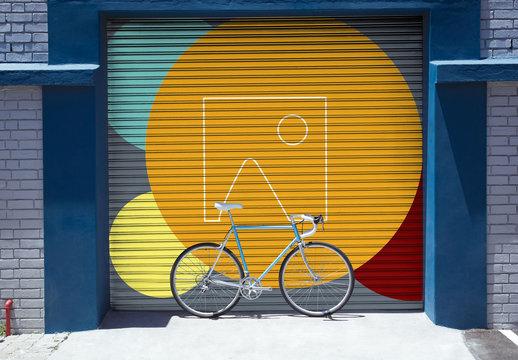 Urban Mural with Bicycle Mockup