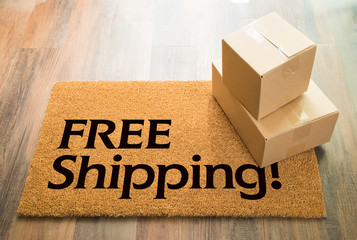 Free Shipping Welcome Mat On Wood Floor With Shipment of Boxes