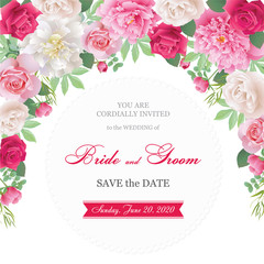 Wedding invitation cards with roses and peonies.Beautiful white and red roses, pink and white peonies. (Use for Boarding Pass, invitations, thank you card.) Vector illustration. EPS 10