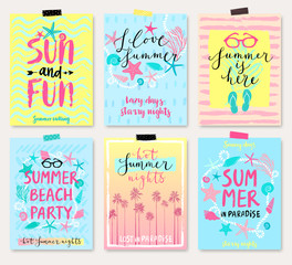 Fototapete - Summer hand drawn calligraphyc card set.