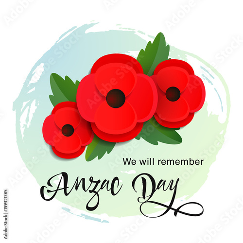 Anzac day vector card paper cut red poppy flower stock image and anzac day vector card paper cut red poppy flower mightylinksfo