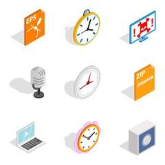 Image recording icons set, isometric style