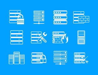 Server icon blue set vector