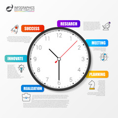 infographic design template with clock in the center