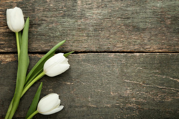 Bouquet of white tulips on grey wooden table