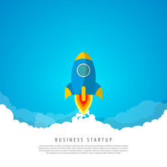 Business startup concept. Rocket in the clouds