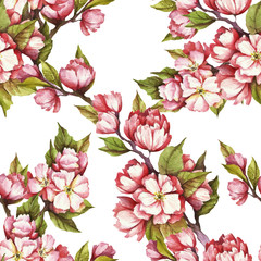 Seamless pattern with cherry blossoms. Watercolor illustration.