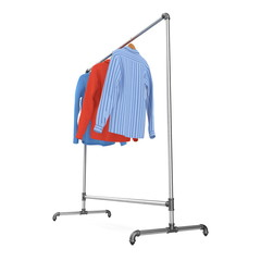 Metall Clothing Display Rack with Shirts on white. 3D illustration