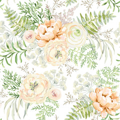 Blush apricot spring bouquets on the white background. Watercolor vector seamless pattern with delicate flowers. Peony, ranunculus, fern and light green leaves. Romantic illustration.