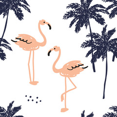 Palm trees silhouette and blush pink flamingo on the white background. Vector seamless pattern with tropical birds and plants. Exotic summer beach.