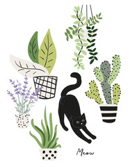 Black cat and plants in the pots. Morning stretch. Cute pet at home. Vector illustration. Design for the poster, tee shirt.