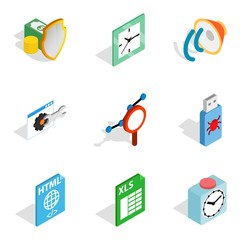Video business icons set, isometric style