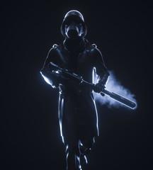 Man with gasmask and gun