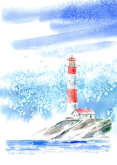 Landscape of a lighthouse and the ocean and sky.Sea picture.Watercolor hand drawn illustration.White background.