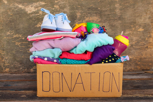 Donation box with children's things and toys