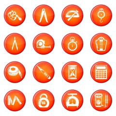 Measure precision icons set red vector