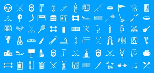 Sport equipment icon blue set vector