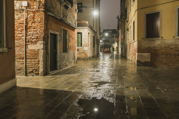 rainy street by night