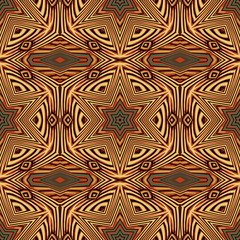 Seamless striped vector pattern with tribal and ethnic motifs