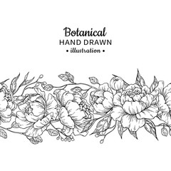 Floral seamless vintage border. Vector peony and roses botanical