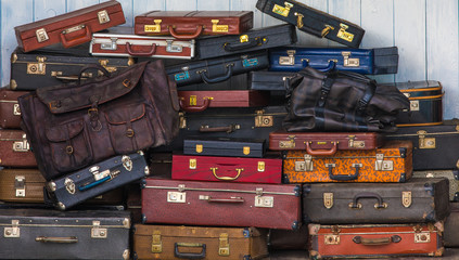 Set of old suitcases.Vintage travel bags.Travel luggage concept.